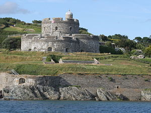 St Mawes Castle - St Mawes seen from the sea, showing the Henrician castle (top), the Grand Sea Battery and magazine, and the 16th-century blockhouse (bottom)