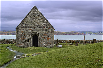 Guðrøðr Óláfsson - St Oran's Chapel, the oldest intact building on Iona, dates to the mid twelfth century, and may have been built by either the Meic Somairle or the Crovan dynasty. Guðrøðr himself was laid to rest on the island.