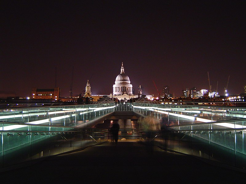 File:St Pauls and Millennium Bridge at night.jpg