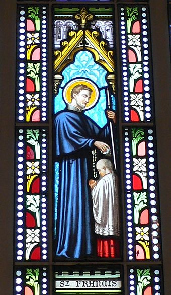 Stained glass church window in Bethanie, Hong Kong, of St Francis Xavier baptizing a Chinese man Stain glass window of St Francis of Xavier in Bethanie.JPG