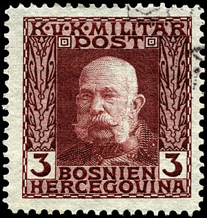 Postage stamps and postal history of Bosnia and Herzegovina - Image: Stamp Bosnia 1912 3h