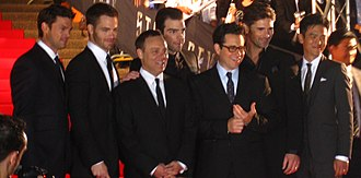 Star Trek (film) - Urban, Pine, Burk, Quinto, Abrams, Bana and Cho attending the film's premiere at the Sydney Opera House on April 7, 2009.
