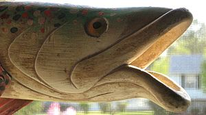 Fish decoy - Contemporary carving of a fish decoy, detail
