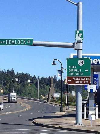 Oregon Route 34 - Western terminus of OR 34 in Waldport.