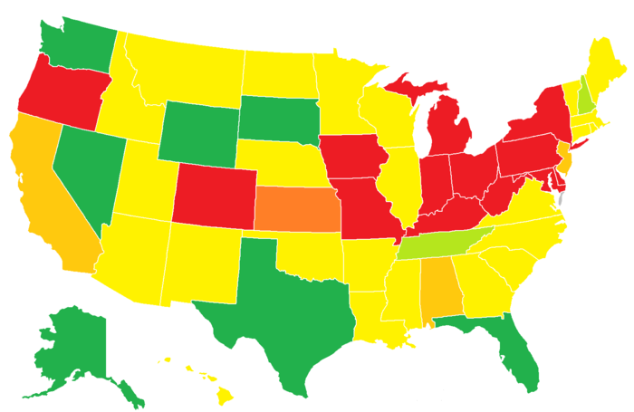 States without state-level or local-level individual income taxes are in green.  States with state-level individual income tax on interest and dividends only but no local-level individual income taxes are in light green.  States with state-level individual income tax but no local-level individual income taxes are in yellow.  States with state-level individual income tax and local-level individual income taxes on payroll only are in dark yellow/light orange.  States with state-level individual income tax and local-level individual income tax on interest and dividends only are in orange  States with state-level and local-level individual income taxes are in red. State and Local income taxes.png