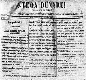 Steaua Dunării - Steoa Dunărei. Zimbrulu şi Vulturulu, issue from January 24, 1859