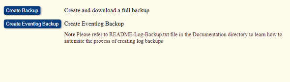 "Image showing the ""Create Backup"" button"