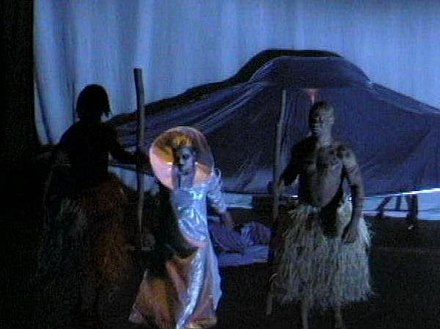 Theatrical performance of ENKI by Lorin Morgan-Richards based on the writings of Zecharia Sitchin. Still photo from Cleveland Premiere of 'ENKI' directed by Lorin Morgan-Richards, 1999.jpg