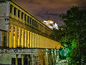 Stoa of Attalos - Stoa of Attalos at night