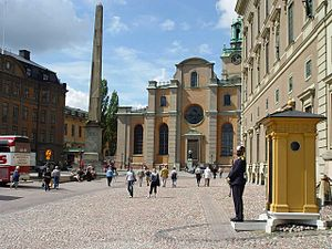 Gamla stan - Façades of the Royal Palace and Stockholm Cathedral facing Slottsbacken.
