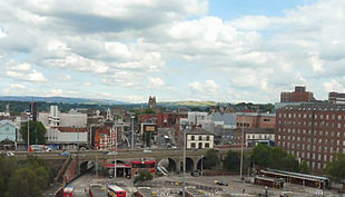 """View from the <a href=""""http://search.lycos.com/web/?_z=0&q=%22Stockport%20Viaduct%22"""">Stockport Viaduct</a>"""