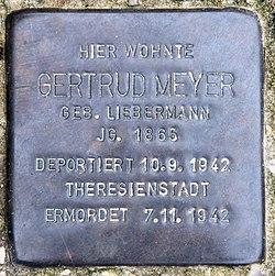 Photo of Gertrud Meyer brass plaque