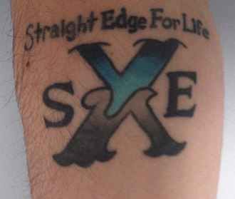 Straight edge - A straight edge tattoo