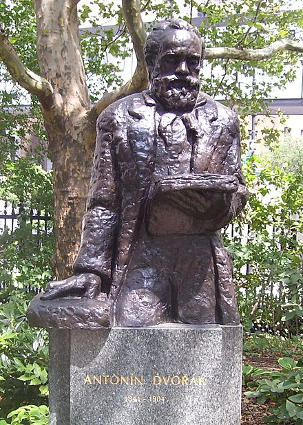 Statue of Antonin Dvorak in Stuyvesant Square in Manhattan, New York City, made by Croatian sculptor Ivan Mestrovic. Stuyvesant Square Dvorak statue.jpg