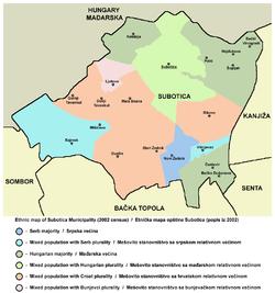 mapa subotice sa okolinom Opština Subotica   Wikipedia mapa subotice sa okolinom