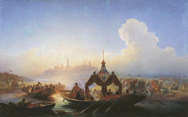 Василий Худяков. Пленённая царица Сююмбике, покидающая Казань, 1870