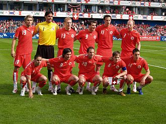 Switzerland national football team - The Swiss line-up against China, just before World Cup 2006