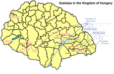 Map of the Székely migrations