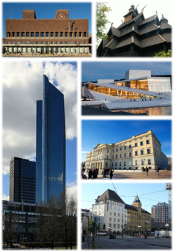 From top-left, clockwise: Oslo City Hall, Gol stave church, Oslo Opera House, Royal Palace, Railway Square, Oslo Plaza