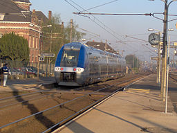 A Bombardier AGC train belonging to TER, in Hazebrouck station.