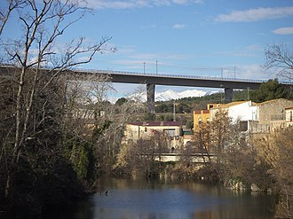 Perpignan–Barcelona high-speed rail line - Muga Viaducto in the Pont de Molins village, without noise protection screens