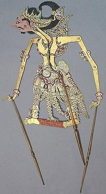 Wayang loutka představující Kichaka (Raden Kencaka)