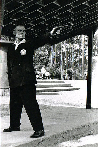 ISSF 25 meter rapid fire pistol - Károly Takács, the first double Olympic Champion, competing in 1961