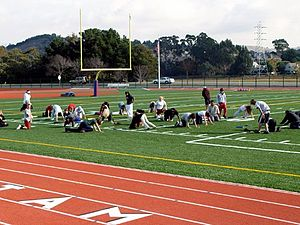 Tamalpais High School - Students work out on the track and field of Tamalpais High School, October 2004