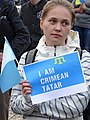 Tatar Woman at May 18 Commemoration of Crimean Tatar Deportations-Genocide - Maidan Square - Kiev - Ukraine - 03 (27006194082).jpg
