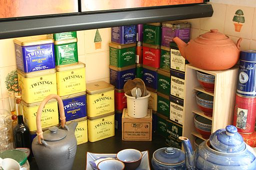 Tea tins in kitchen, mostly Twinings