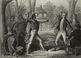 Tecumseh and Harrison facing each other with weapons drawn