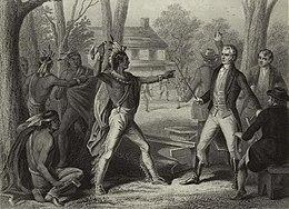 Tecumseh e Harrison si fronteggiano con le armi sguainate