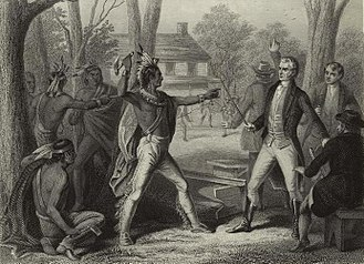 Treaty of Fort Wayne (1809) - At Grouseland in Vincennes, Tecumseh becomes enraged when William Henry Harrison refuses to rescind the Treaty of Fort Wayne.