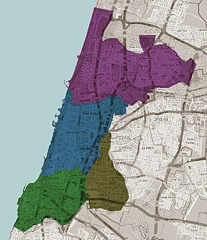 Tel Aviv-Yafo Municipality - Image: Tel Aviv districts map