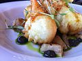 Tempura shrimp on roasted aubergine (12149572383).jpg
