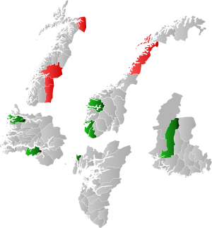 Terra Securities scandal - Map showing the involved municipalities. Red municipalities are directly involved, while the green have had similar products from Terra Securities