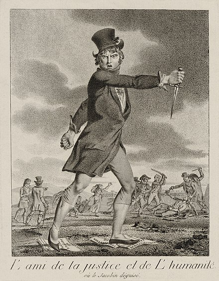 Picture by an unknown artist showing a member of the 'Compagnons du Soleil', who carried out White Terror attacks in southeastern France Terreur blanche 1795.jpg