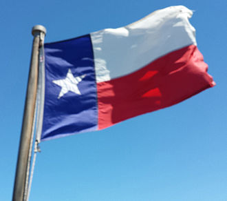 Flag of Texas - Lone Star Flag, flying on the Houston Ship Channel tour boat, on April 2, 2016.
