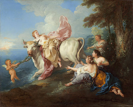 Europa and the bull, depicted by Jean-Francois de Troy (1716) The Abduction of Europa, Jean-Francois de Troy.jpg