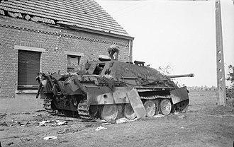 Battle of Geel - Destroyed German Jagdpanther near Geel, 13 September 1944.