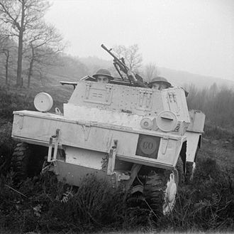 8th Armoured Division (United Kingdom) - Scout car of the 40th (The King's) Royal Tank Regiment, 8th Armoured Division, at Warren Camp, Crowborough in Sussex, 22 December 1941. The regiment was about to embark for the Middle East, hence the desert camouflage.
