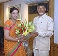 The Chief Minister of Andhra Pradesh, Shri Chandrababu Naidu meeting the Union Minister for Human Resource Development, Smt. Smriti Zubin Irani, in New Delhi on June 26, 2014.jpg