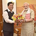The Chief Minister of Assam, Shri Sarbananda Sonowal calling on the Prime Minister, Shri Narendra Modi, in New Delhi on June 11, 2016.jpg