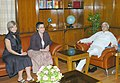 The Director of HEC School of Management, Paris, France, Ms. Karin Le Joly calls on the Union Railway Minister, Shri Lalu Prasad, in New Delhi on August 01, 2006.jpg