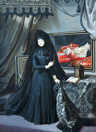 Anna Maria Luisa de' Medici - Anna Maria Luisa in The Electress Palatine in mourning dress by Jan Frans van Douven, 1717. She points to the portrait of Johann Wilhelm's remains, adorned with the Palatine regalia, in the milieu.