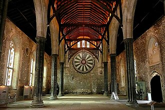 Camelot - Winchester Castle's Great Hall with a 13th-century prop Round Table