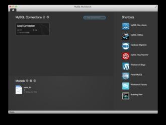 MySQL Workbench - Image: The My SQL Workbench startup screen