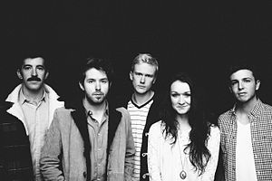 The Paper Kites - (left to right) Dave Powys, Sam Bentley, Sam Rasmussen, Christina Lacy, Josh Bentley