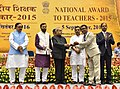The President, Shri Pranab Mukherjee presenting the National Award for Teachers-2015 to Shri Kalyan Singh Mankoti (Uttarakhand), on the occasion of the 'Teachers Day', in New Delhi.jpg