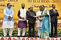 The President, Shri Pranab Mukherjee presenting the National Award for Teachers-2015 to Smt. Subha Devi Shukla (Uttar Pradesh), on the occasion of the 'Teachers Day', in New Delhi.jpg